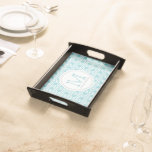 Personalized Paradise Blue & White Serving Tray 2