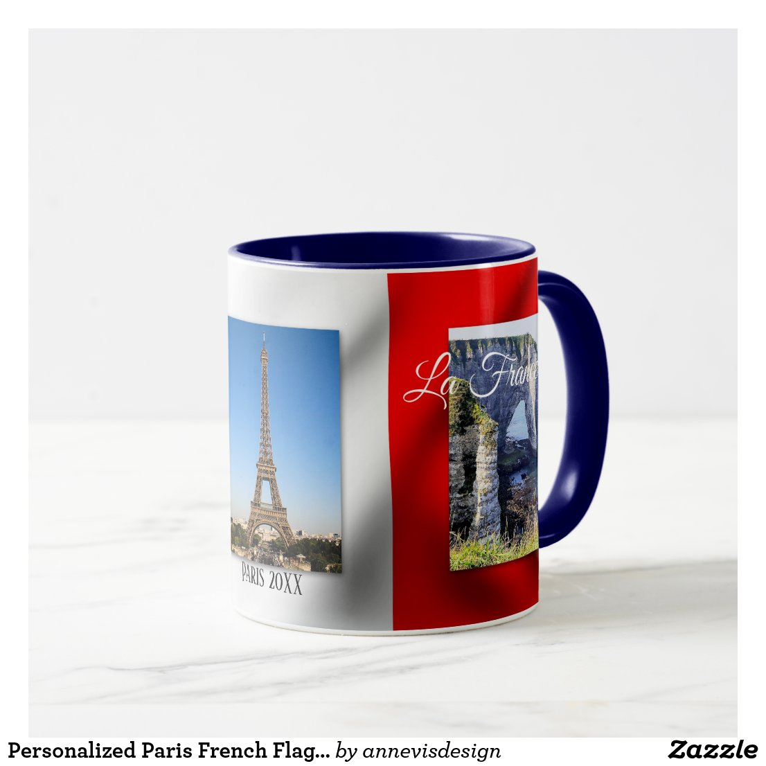 Personalized Paris French Flag Photo Mug