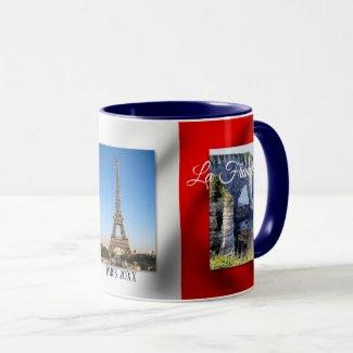 Personalized Paris French Flag Photo Mug