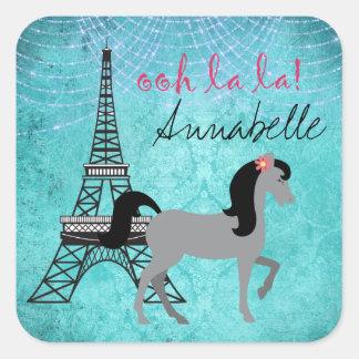 Personalized Paris Pony Oh La La Grey Horse Square Sticker