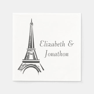 Personalized Paris Wedding Party Paper Napkin