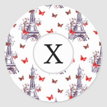 Personalized Parisian Eiffel Tower Purple Chic Classic Round Sticker