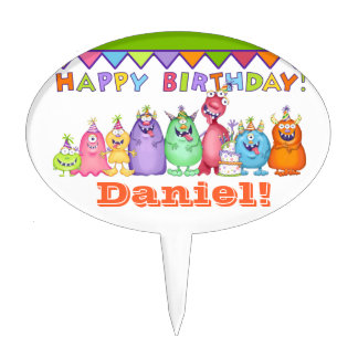 Personalized Party Monsters Cake Topper