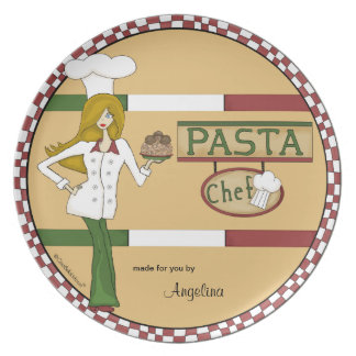 Personalized Pasta Chef Dinner Plates
