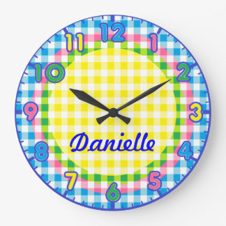 Personalized Pastel Checkered Kids Clock w/numbers