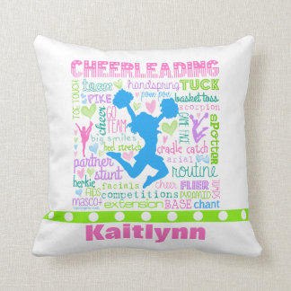 Personalized Pastel Cheerleading Words Typography Throw Pillow