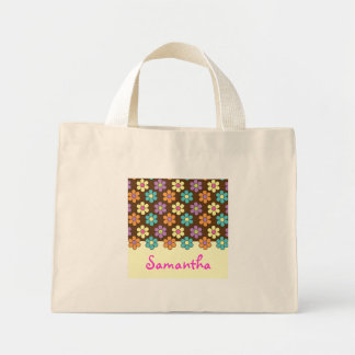 Personalized Pastel Daisy Pattern Brown Mini Tote Bag