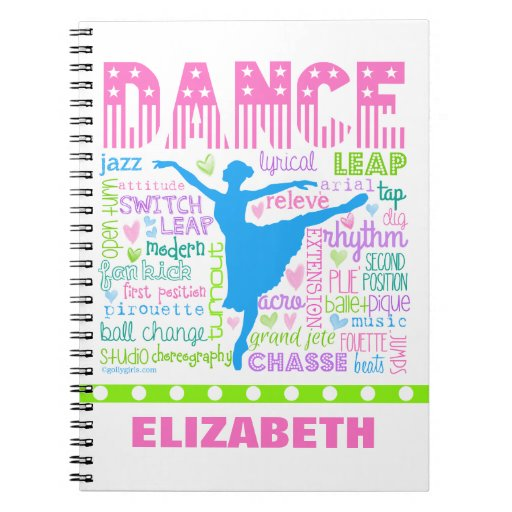 personalized pastel dancer words typography notebook zazzle