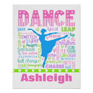 Personalized Pastel Dancer Words Typography Poster