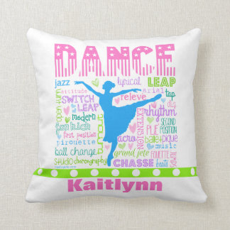 Personalized Pastel Dancer Words Typography Throw Pillow