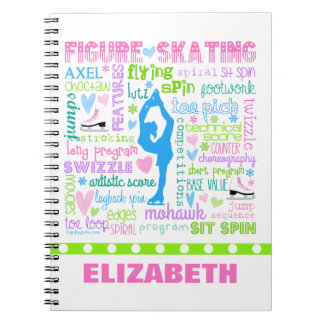 Personalized Pastel Figure Skater Words Typography Spiral Notebook