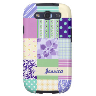Personalized Pastel Girly pattern squares Samsung Galaxy SIII Covers