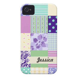 Personalized Pastel Girly pattern squares Case-Mate iPhone 4 Case