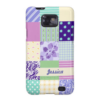 Personalized Pastel Girly pattern squares Samsung Galaxy SII Case