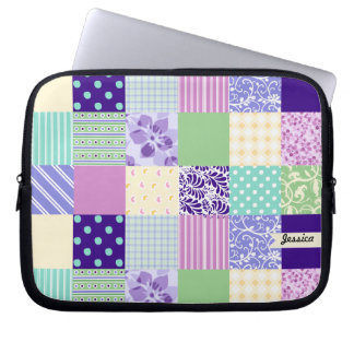 Personalized Pastel Girly pattern squares Computer Sleeve