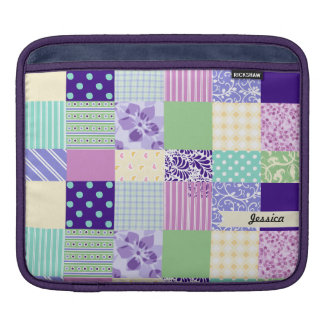 Personalized Pastel Girly pattern squares iPad Sleeve