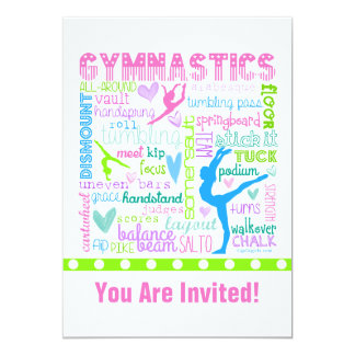Personalized Pastel Gymnastics Words Typography Card
