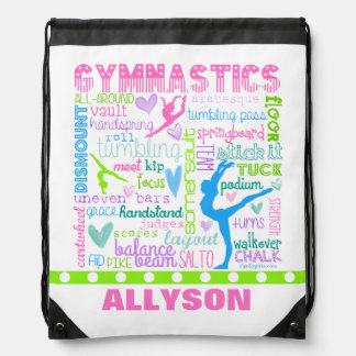 Personalized Pastel Gymnastics Words Typography Drawstring Bag