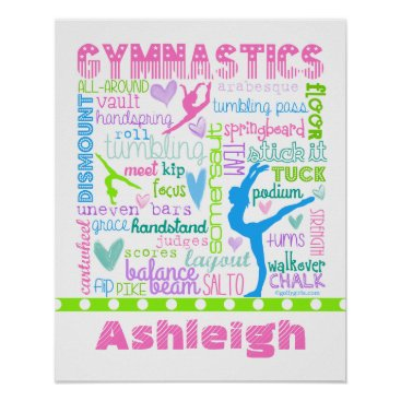 Valentines Themed Personalized Pastel Gymnastics Words Typography Poster