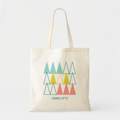 Personalized Pastel Pattern Pink Turquoise Tote Bag