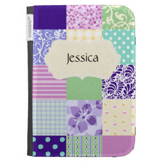 Personalized Pastel Pink and Purple Girly pattern Kindle Covers