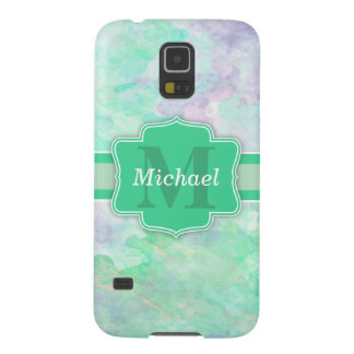 Personalized Pastel Watercolors Name and Monogram Galaxy S5 Covers