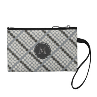 Personalized Pastels Grey Cream Patterned Bag Change Purses