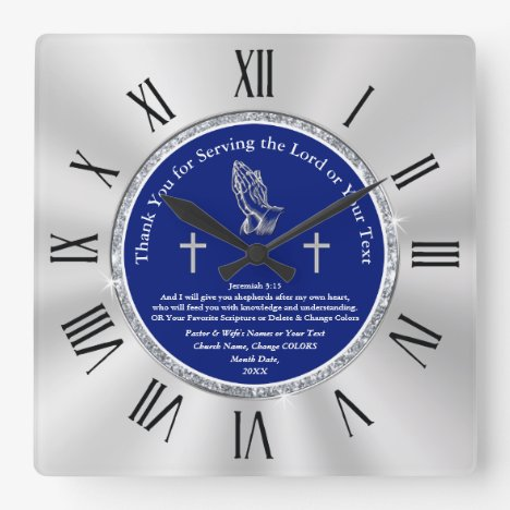 Personalized Pastor Appreciation Day Gift Ideas Square Wall Clock