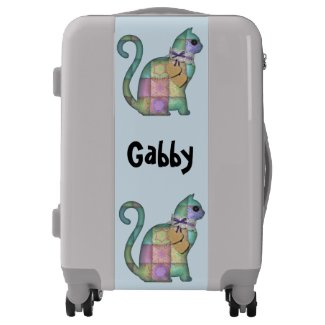 Personalized Patchwork Cat Design Suitcase Luggage