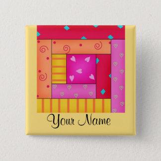 Personalized Patchwork Quilt Block Art Pins