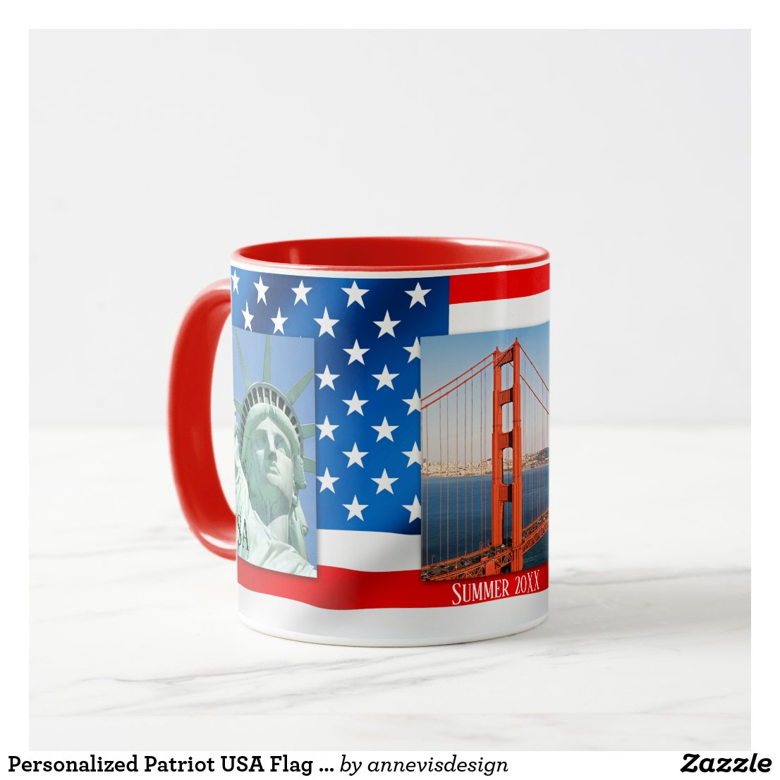 Personalized Patriot USA Flag Photo Mug