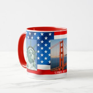 Personalized Patriot USA Flag Photo Mug