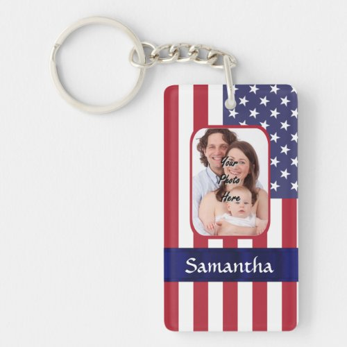 Personalized Patriotic American flag Keychain