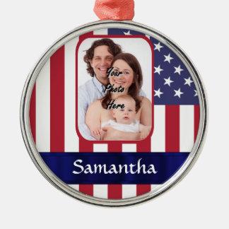 Personalized Patriotic American flag Metal Ornament