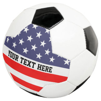 Personalized patriotic American flag soccer ball