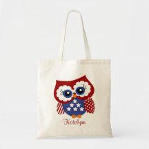Personalized Patriotic Owl Custom Tote Bag Budget Tote Bag