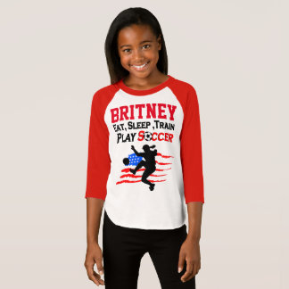 PERSONALIZED PATRIOTIC SOCCER GIRL T SHIRT