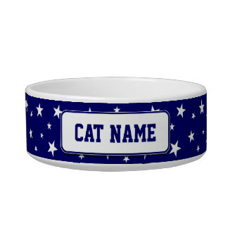 Personalized Patriotic Stars Cat Bowl