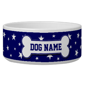 Personalized Patriotic Stars Dog Bowl