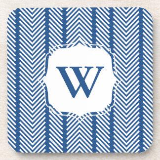 Personalized Pattern Coaster Set - Navy Blue
