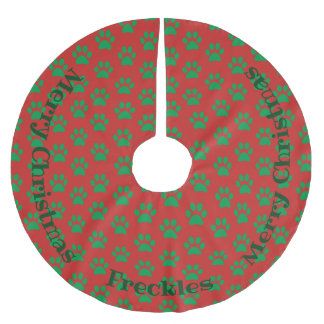 Personalized Paw Pattern Holiday Tree Skirt