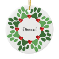 Personalized Paw Print Pet Christmas Ornament