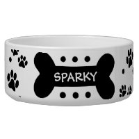 Personalized paw prints and dog bone pet food bowl