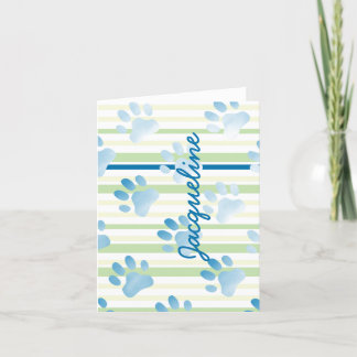 Personalized Paw Prints Blank Inside Note Card
