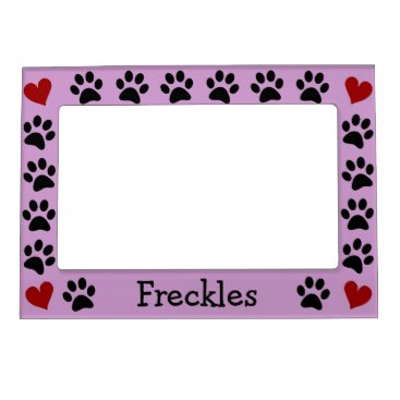 stripedhope Personalized Paw Prints Heart Magnetic Photo Frame