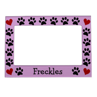Personalized Paw Prints Heart Magnetic Photo Frame