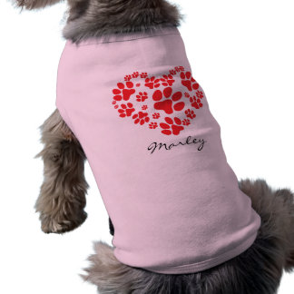 Personalized Paw Prints On My Heart Pet T Shirt