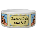 """Personalized """"Paws Off!"""" Doggy Dish Pet Bowls"""