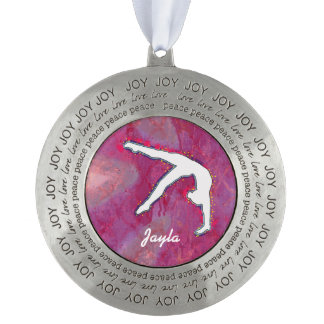 Personalized Peace Girls Gymnast Dancer Ornament