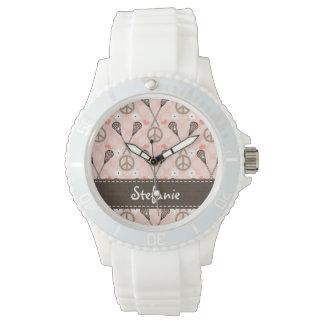 Personalized Peace Lacrosse Wristwatch